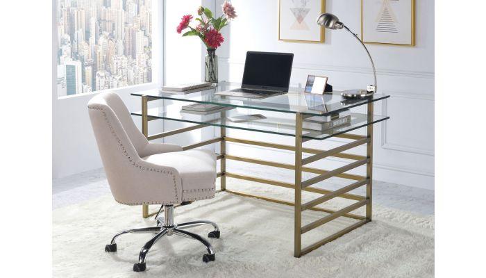 purchase cheap 02e63 c2ff3 Berkley Clear Glass Top Antique Gold Desk