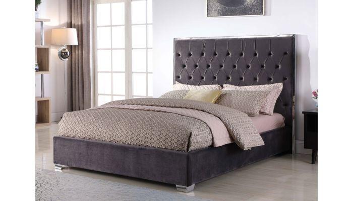 Prague Dark Grey Velvet Upholstered Bed