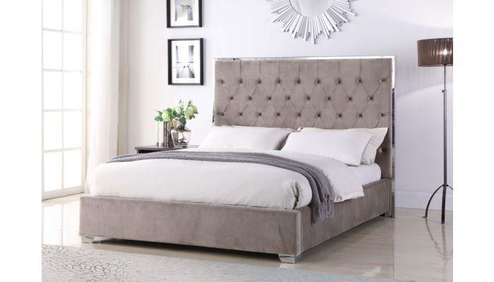 Prague Button Tufted Velvet Fabric Bed