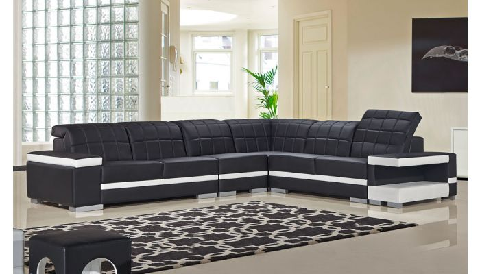 Olympus Black And White Modern Sectional