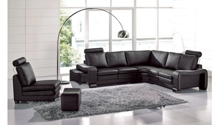 Rene Black Color Leather Sectional