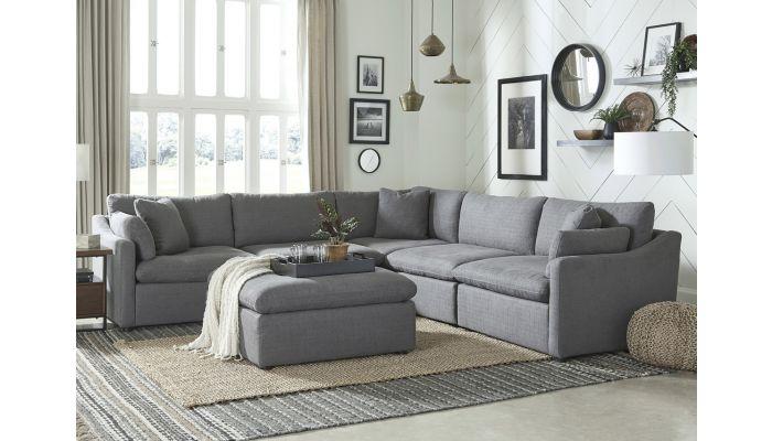 Blaze Grey Modular Sectional With Deep Seats