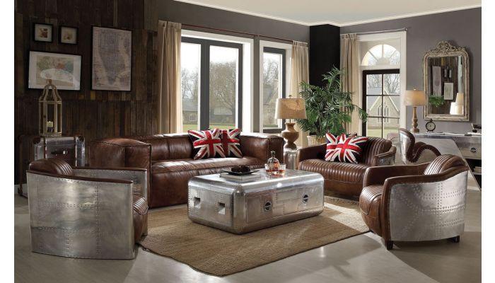 Bomber Top Grain Leather Living Room