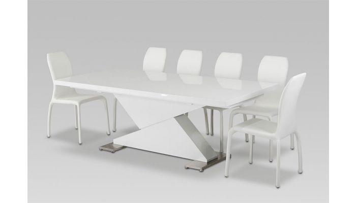 Bono White Lacquer Dining Table