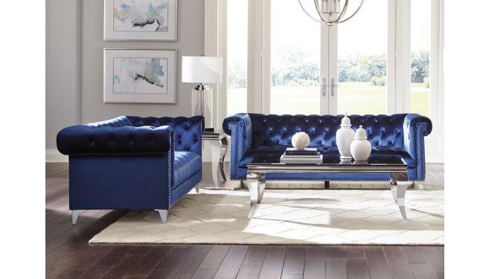 Boykin Blue Velvet Chesterfield Sofa