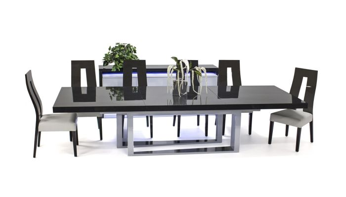 Boyton Grey Lacquer Oversized Dining Table Set