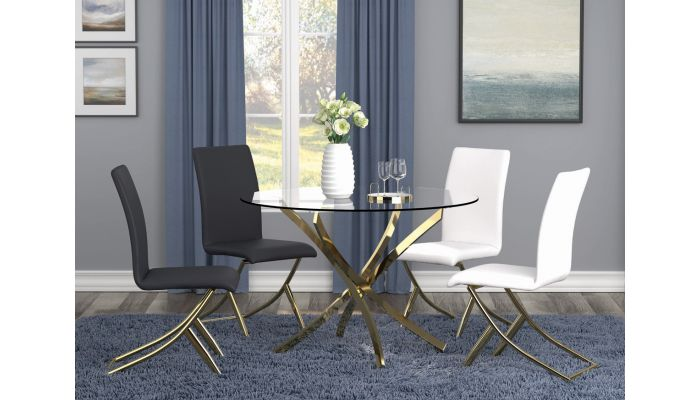 Brady Gold Finish Dining Table Set
