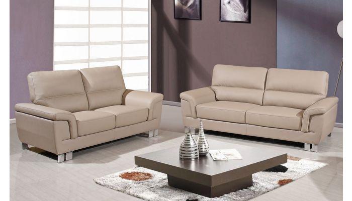 Braka Beige Leather Modern Sofa