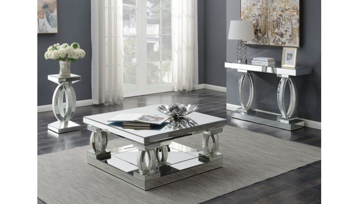 Briar Square Mirrored Coffee Table With Crystals