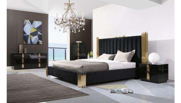 Brigham Black and Gold Bedroom Furniture