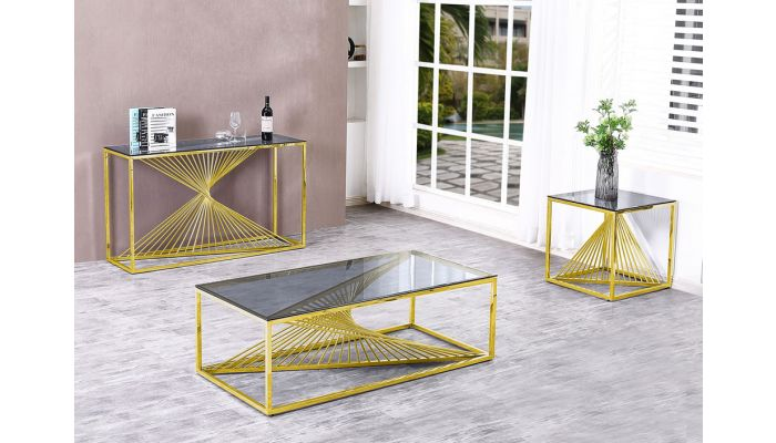 Brodie Gold Finish Coffee Table