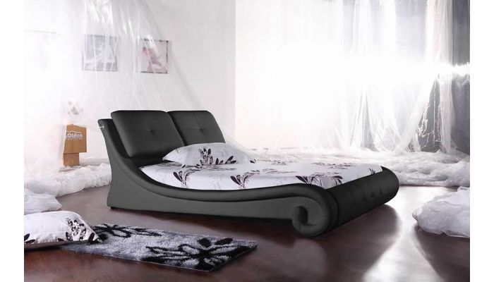 Burdette Black Leather Platform Bed