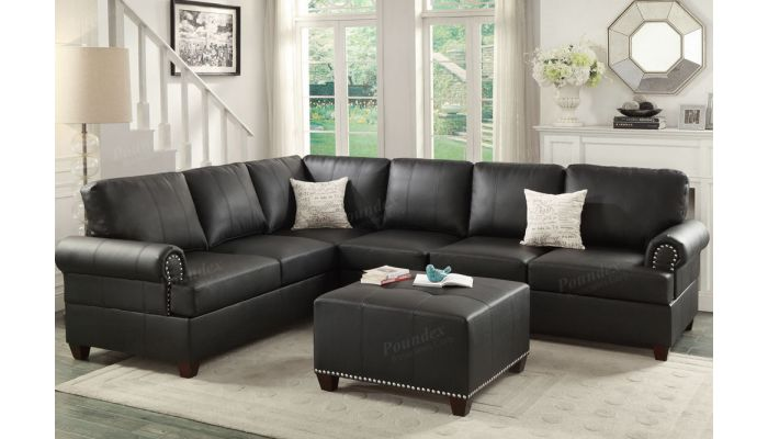 Byron Clic Black Leather Sectional