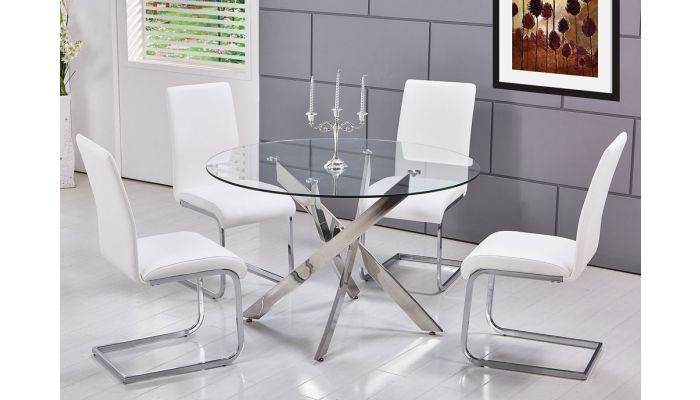 Cady Modern Glass Top Table Set