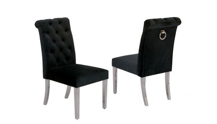 Cambria Black Velvet Dining Chairs Chrome, Black Velvet Dining Room Chairs