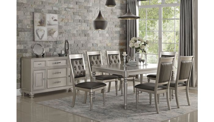 Campbell Silver Finish Contemporary Table Set
