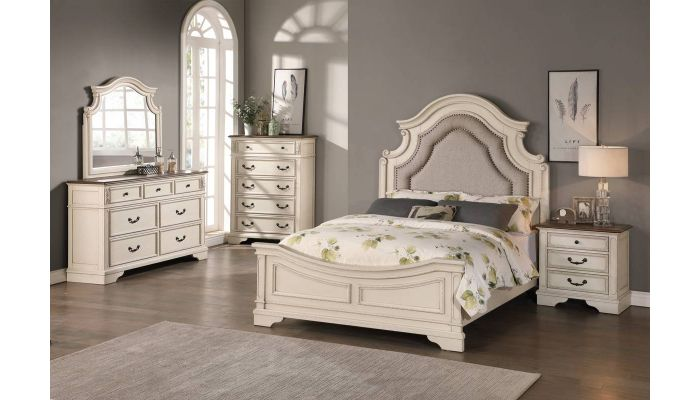 Canterbury White Wash Traditional Style Bed