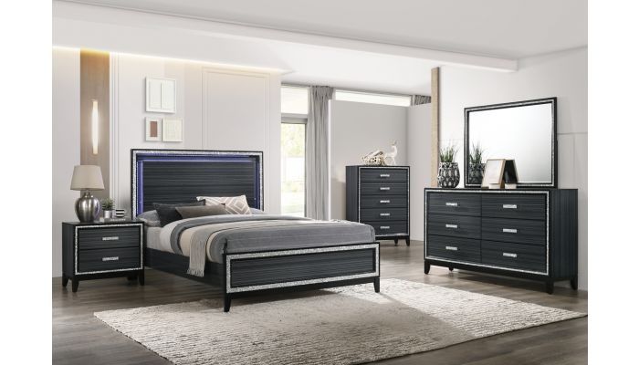 Cara Black Bed With LED Light