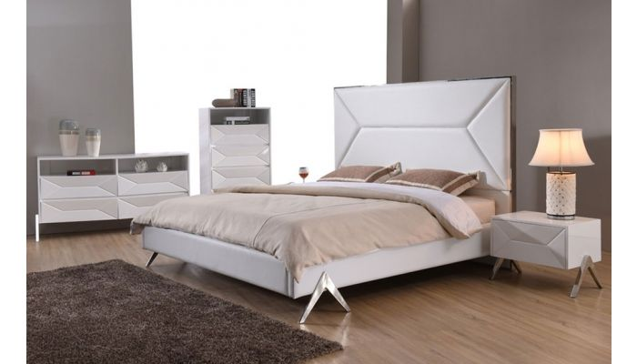 Cardy Modern White Leather Platform Bed