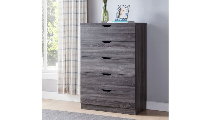 Cargo Rustic Grey Five Drawer Chest