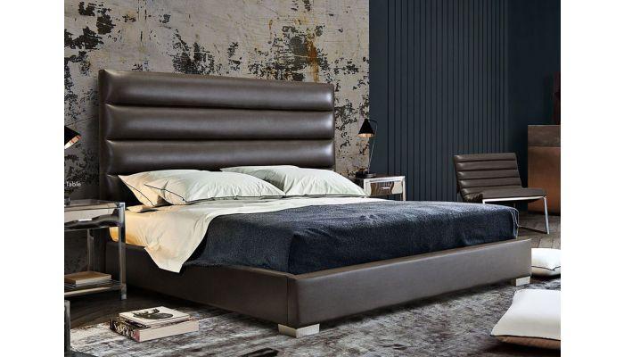 Carla Grey Leather Modern Bed