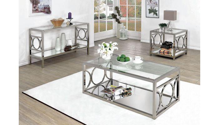 Cathy Modern Coffee Table Mirrored Shelf
