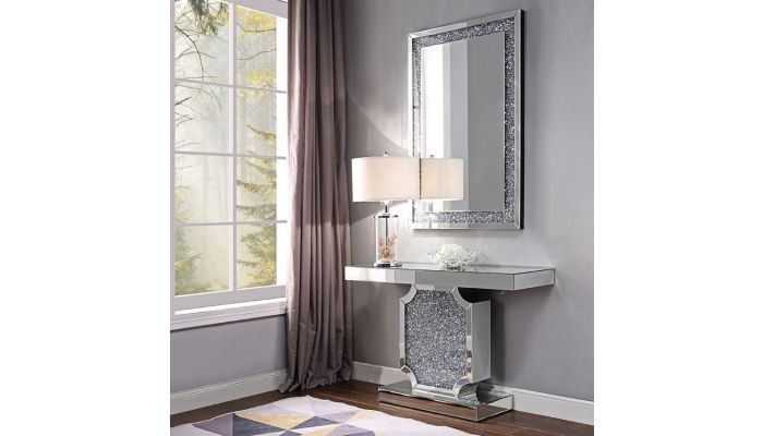 Cerys Crystal Accented Mirrored Console