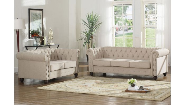 Charleston Beige Linen Chesterfield Sofa