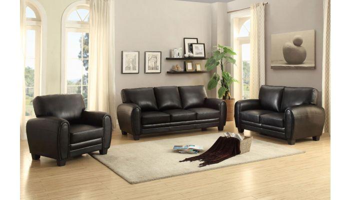 Charley Black Leather Sofa