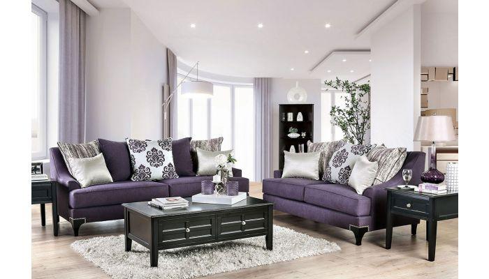 Charley Purple Chenille Sofa