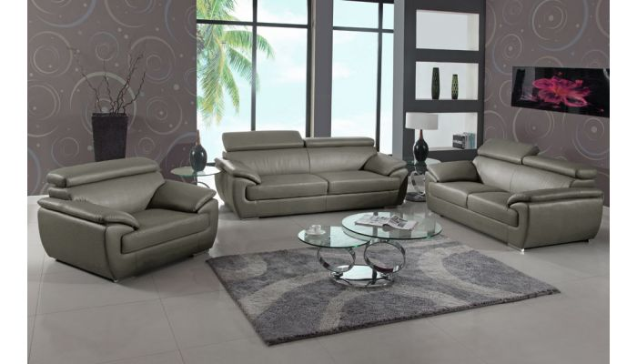 Chaska Grey Leather Living Room Furniture