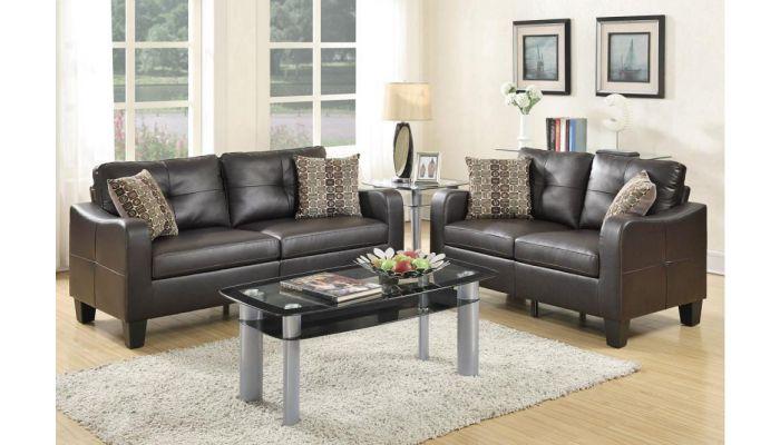 Chateau Contemporary Leather Sofa Set