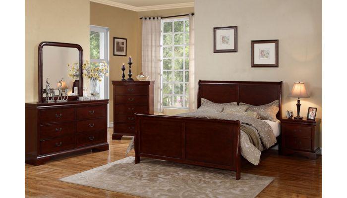 Cherry Finish Sleigh Bed 9231