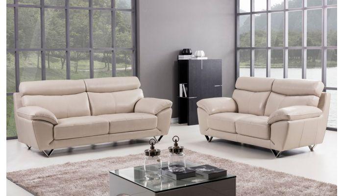Chiang Light Grey Italian Leather Sofa Set