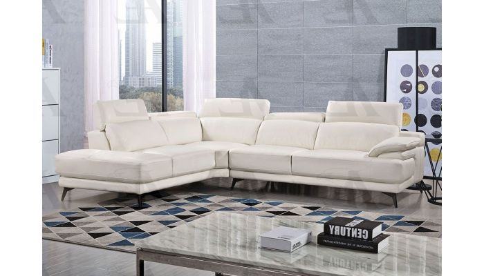 Cidro White Leather Modern Sectional,Cidro Facing Right Side Sectional