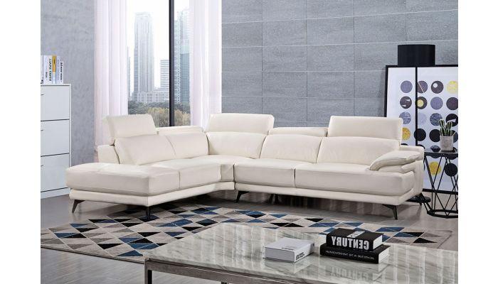 Cidro White Leather Modern Sectional
