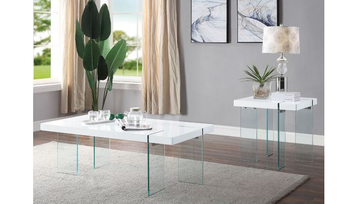 Clarice Modern White Lacquer Coffee Table