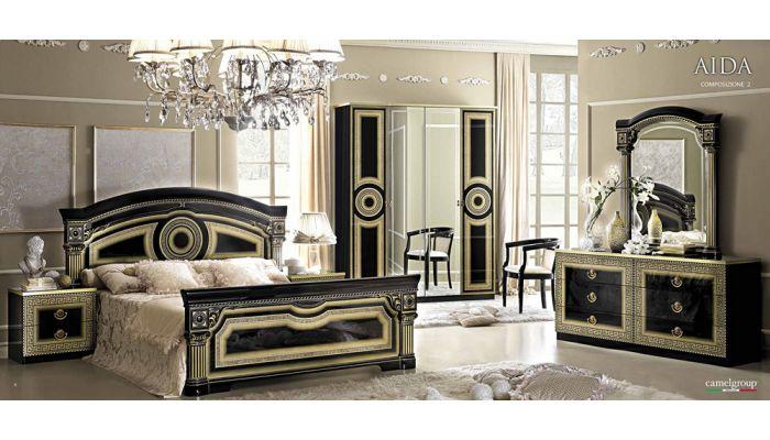 Aida Black Italian Bedroom Set