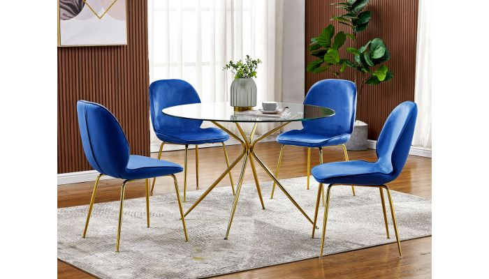 Cleland Round Glass Dining Table Set Gold Base