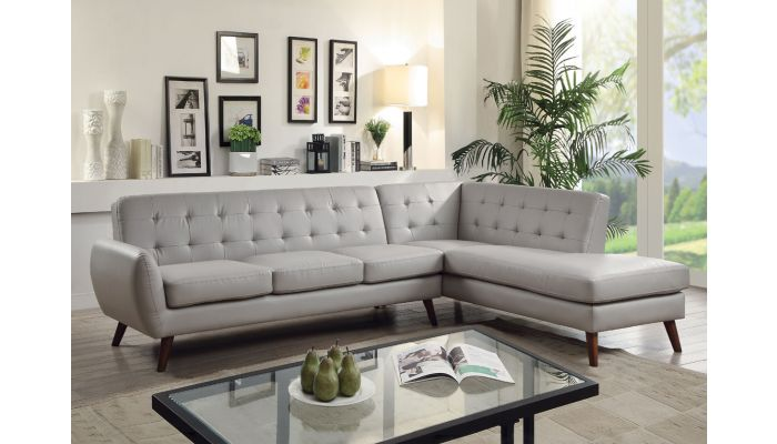 Cleto Mid-Century Modern Sectional Grey Leather