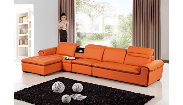 Cleto Modern Orange Leather Sectional