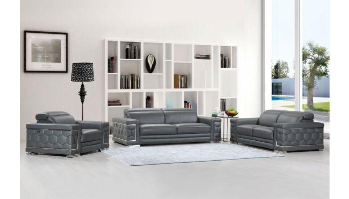 Clovis Gray Sofa With Adjustable Headrests