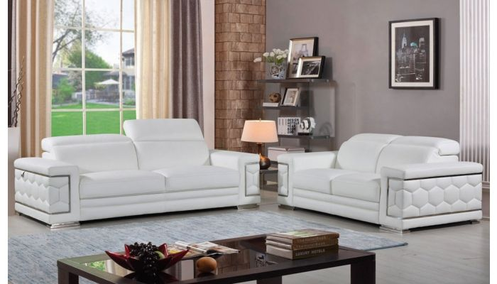 Clovis Living Room White Genuine Leather, White Leather Living Room Set