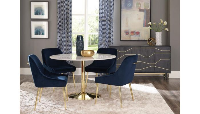 Colten Round Marble Top Dining Table Set, Round Marble Table Dining Set