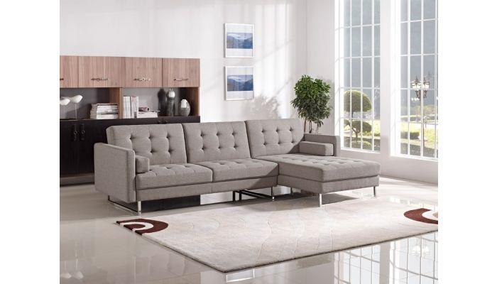 Colvert Brown Linen Fabric Sectional Sleeper