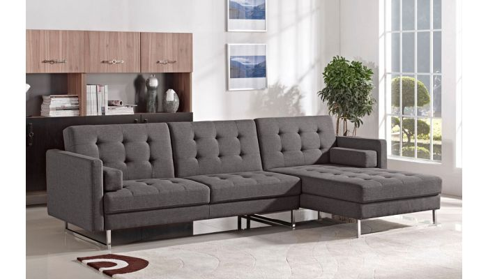 Colvert Charcoal Fabric Sectional Sleeper