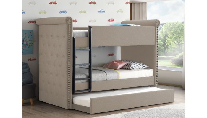 Copper Beige Linen Chesterfield Style Bunkbed
