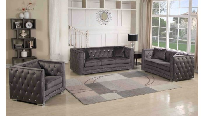 Corvus Grey Velour Chesterfield Sofa