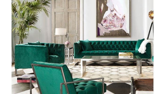 Astounding Crawford Emerald Green Velvet Modern Sofa Gmtry Best Dining Table And Chair Ideas Images Gmtryco