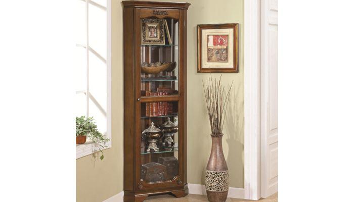 Boston Traditional Corner Curio Cabinet